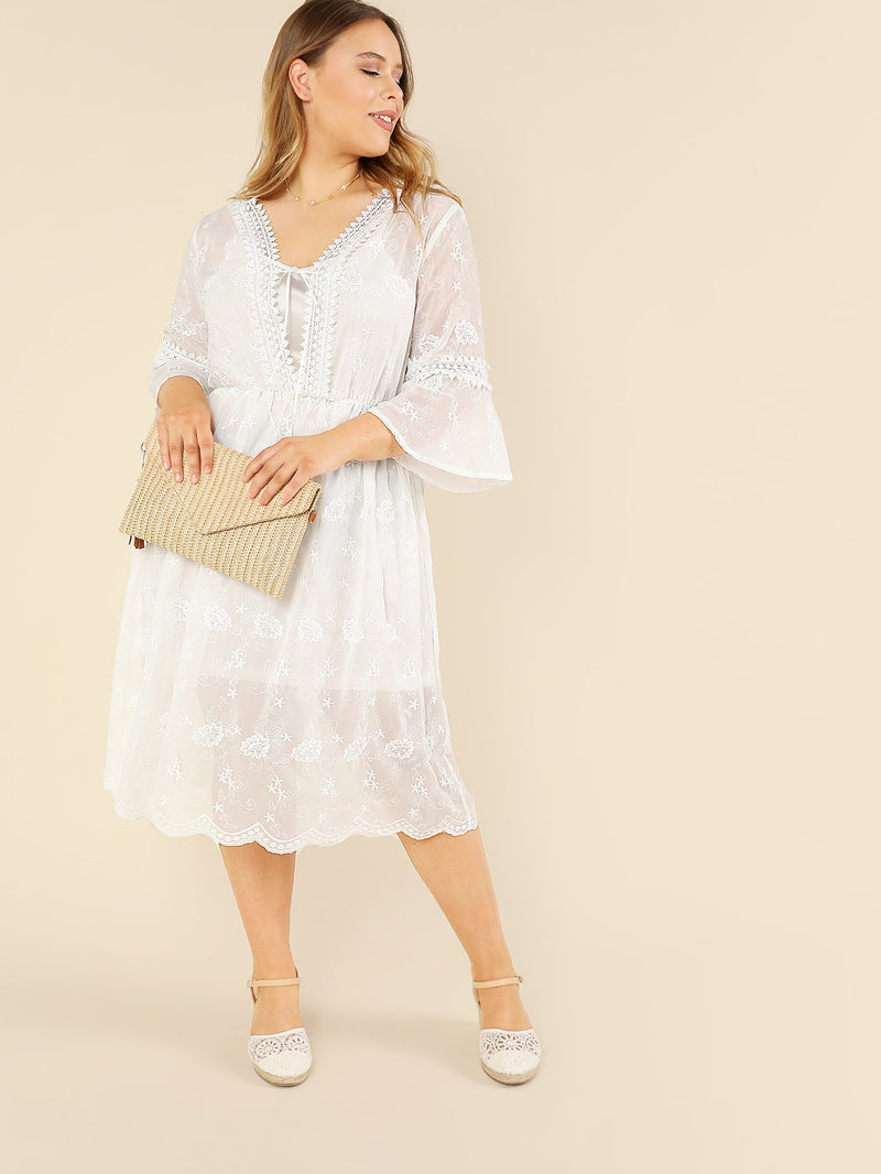 Bell Sleeve Fit & Flare Dress