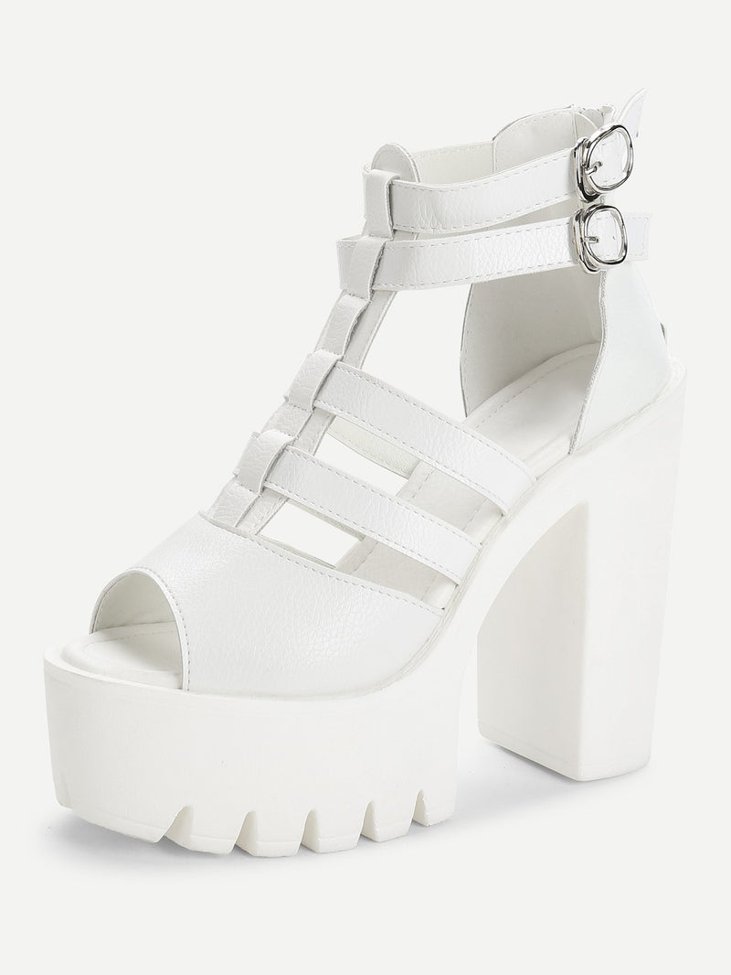 Double Buckle Peep Toe PU Heeled Sandals