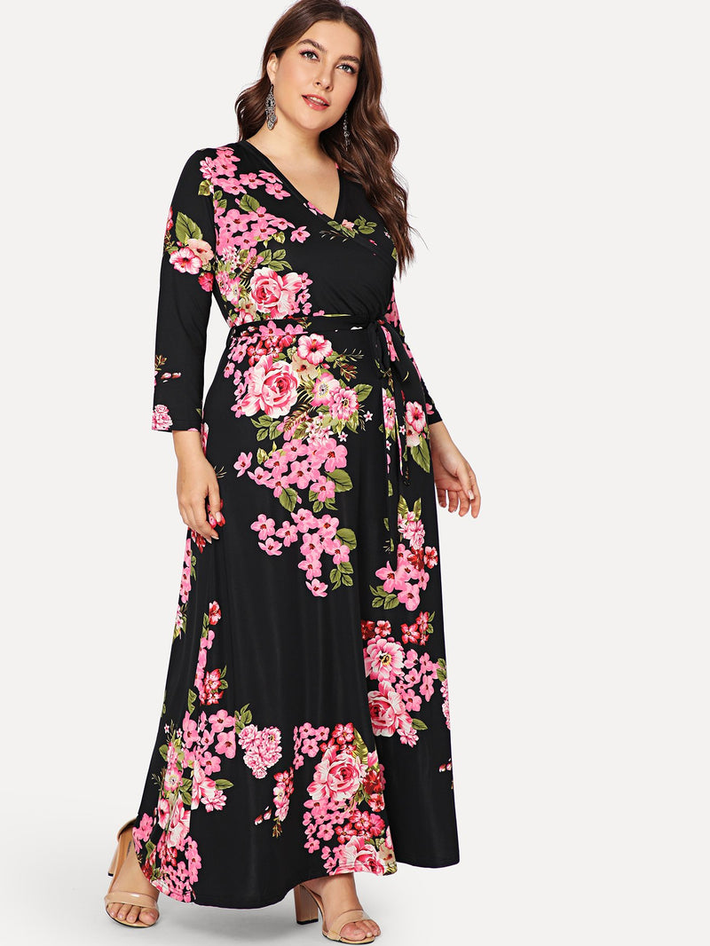 Flower Print Belted Wrap Dress