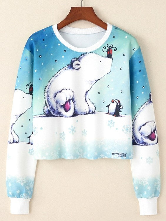 Cartoon Bear & Penguin Print Crop Pullover
