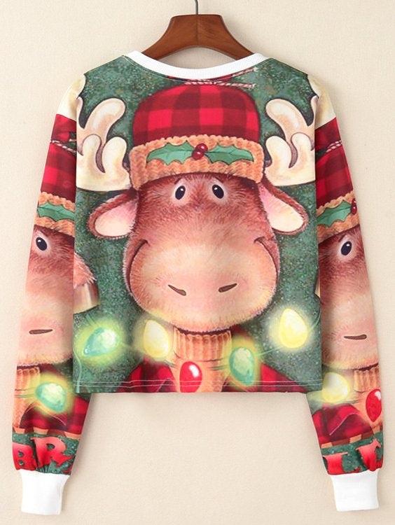 Christmas Pattern Crop Pullover