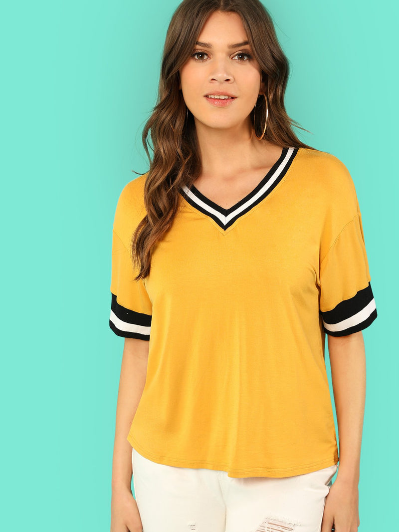 Contrast Tape V Neck Tee