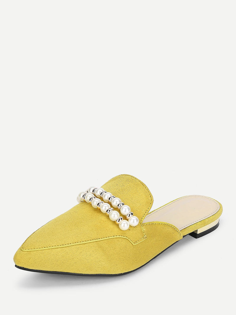 Faux Pearl Decorated Pointed Toe Flats