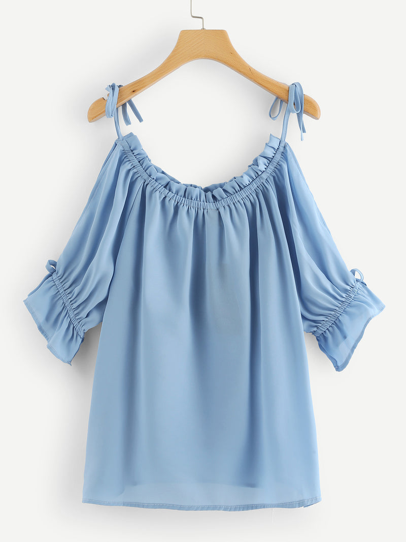 Frill Trim Cold Shoulder Top