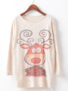Cartoon Reindeer Print Sweater