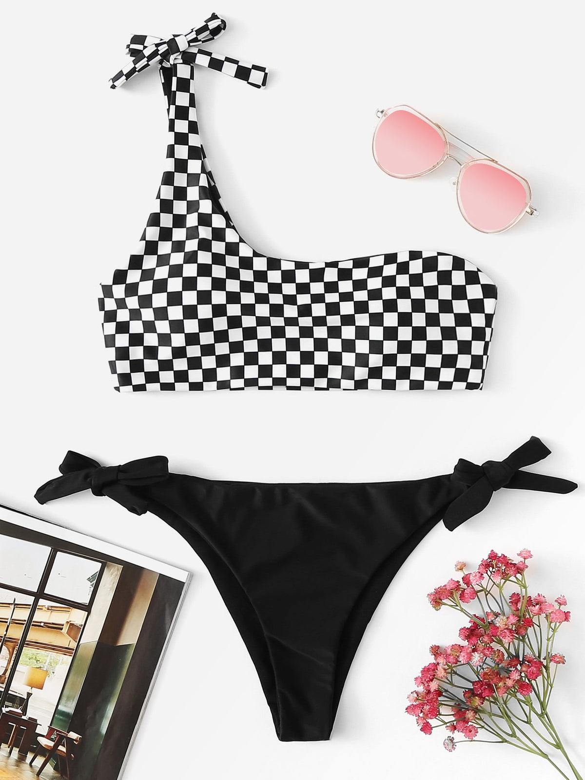 One Shoulder Checked Print Bikini Set