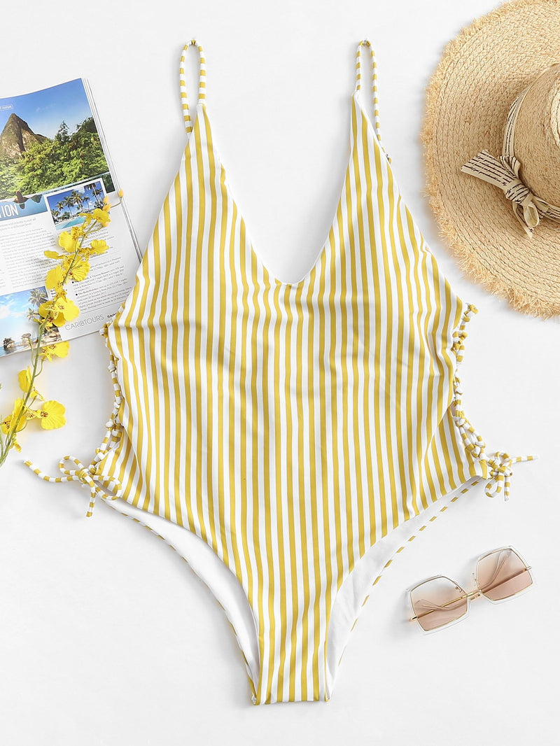 Lace-Up Striped Swimsuit