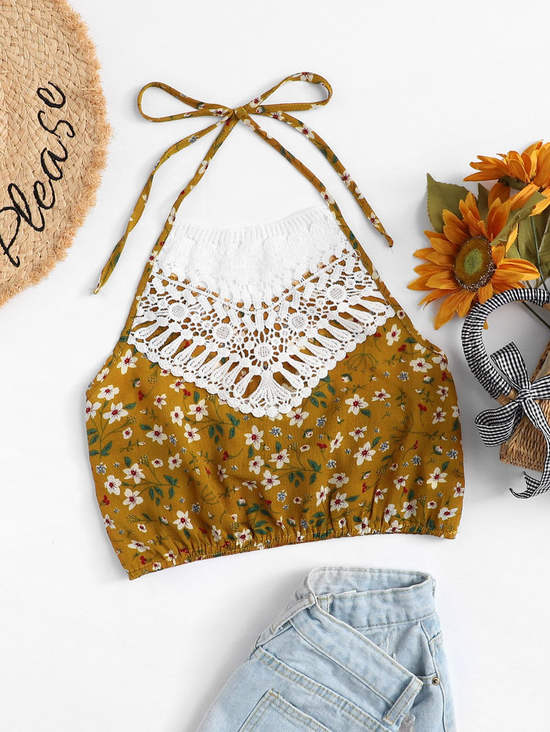 Lace Applique Floral Halterneck Top
