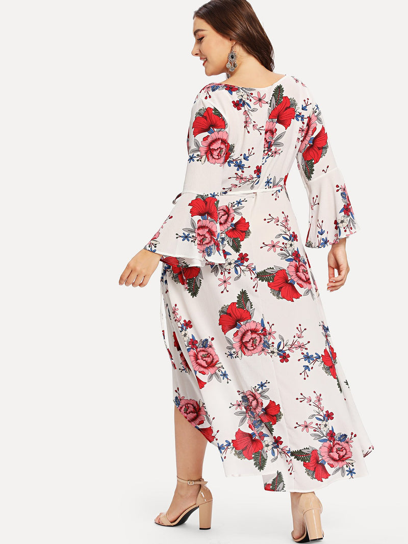 Bell Sleeve High Low Floral Wrap Dress