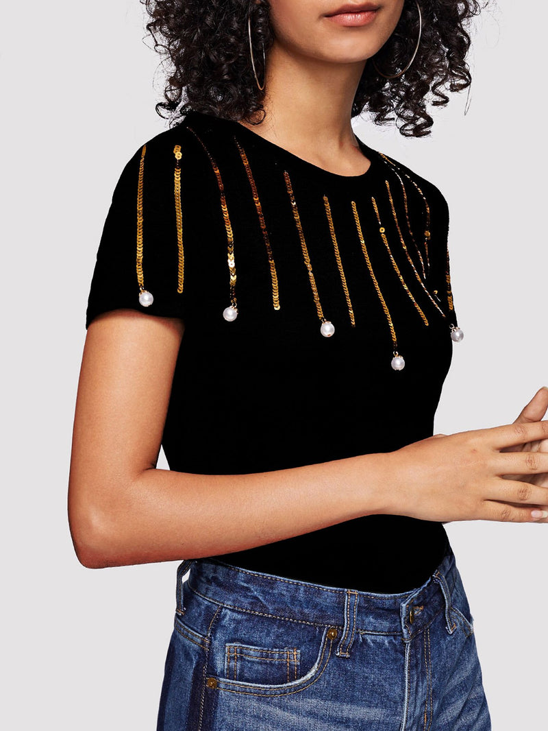 Pearl Beaded Ring Round Neck Tee