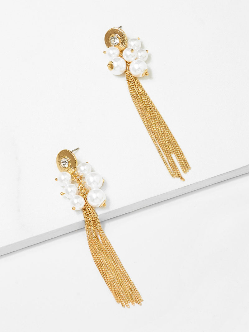 Faux Pearl Chain Tassel Drop Earrings