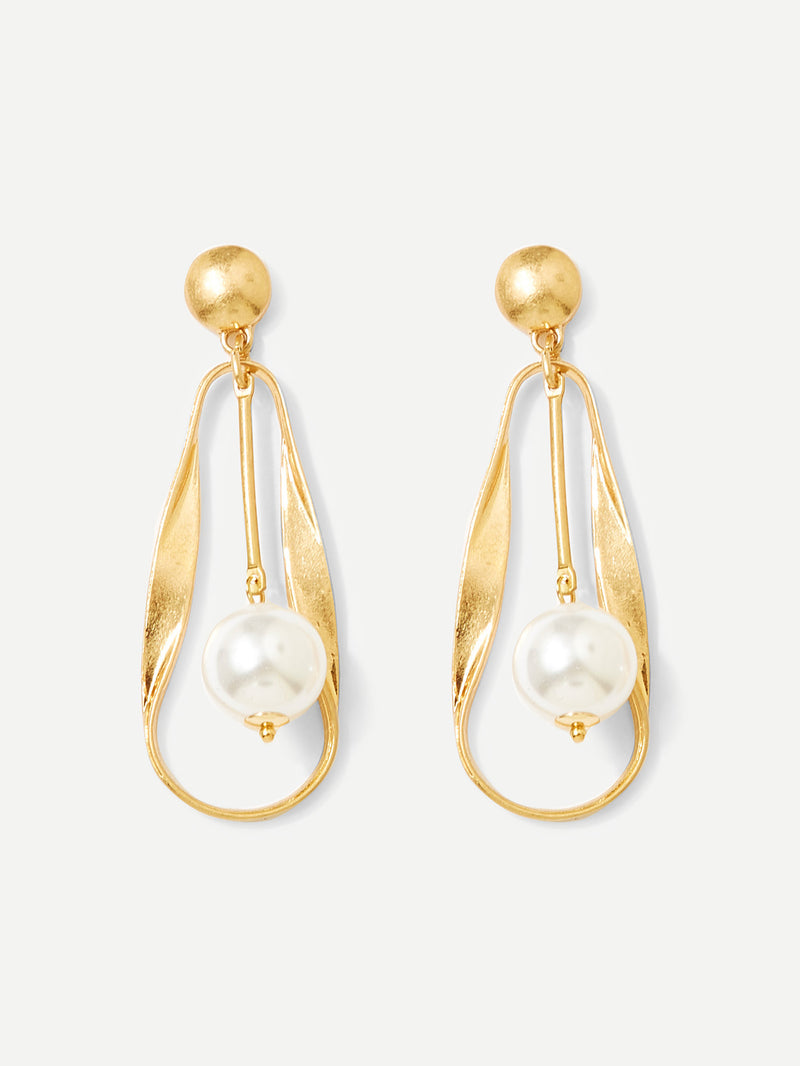 Faux Pearl & Bar Drop Earrings