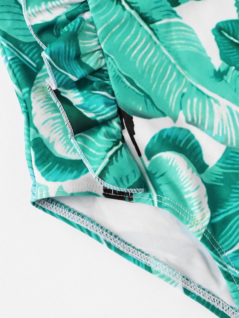 Kids Palm Print Ruffle Swimsuit