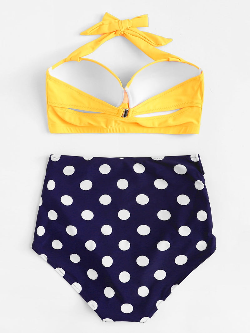 Polka Dot Colorblock Swimsuit