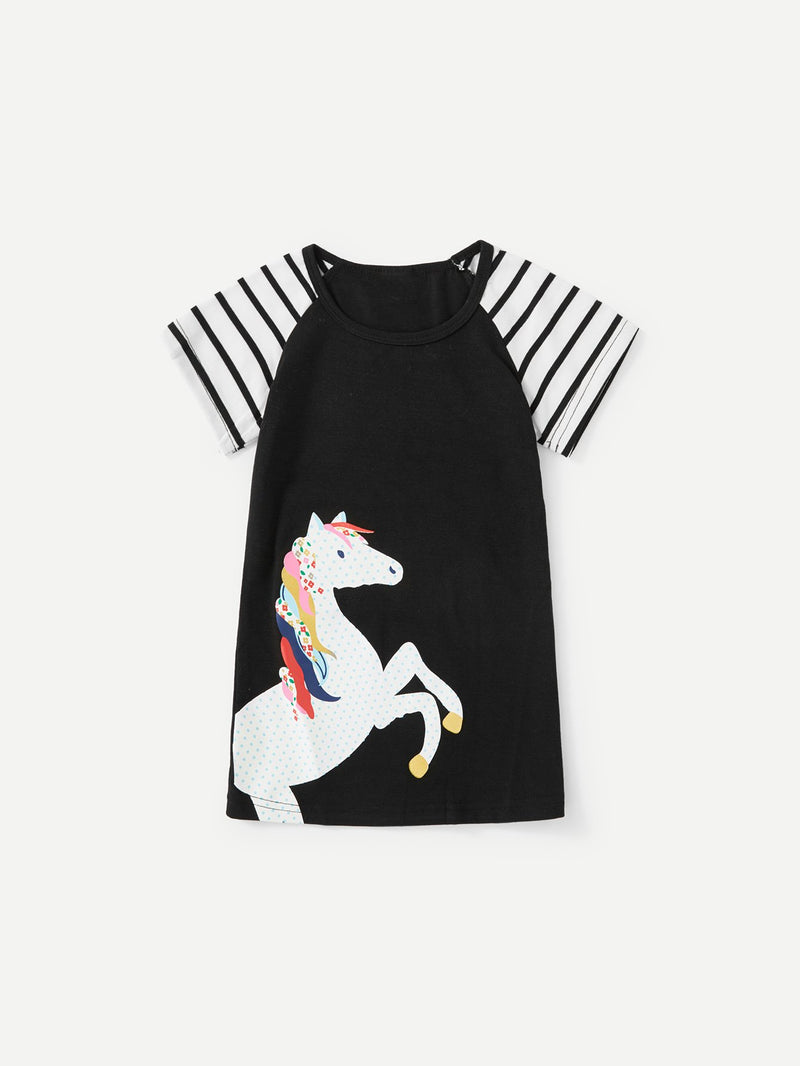 Contrast Raglan Sleeve Unicorn Print Dress