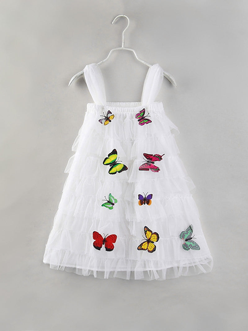 Butterfly Detail Tiered Mesh Dress