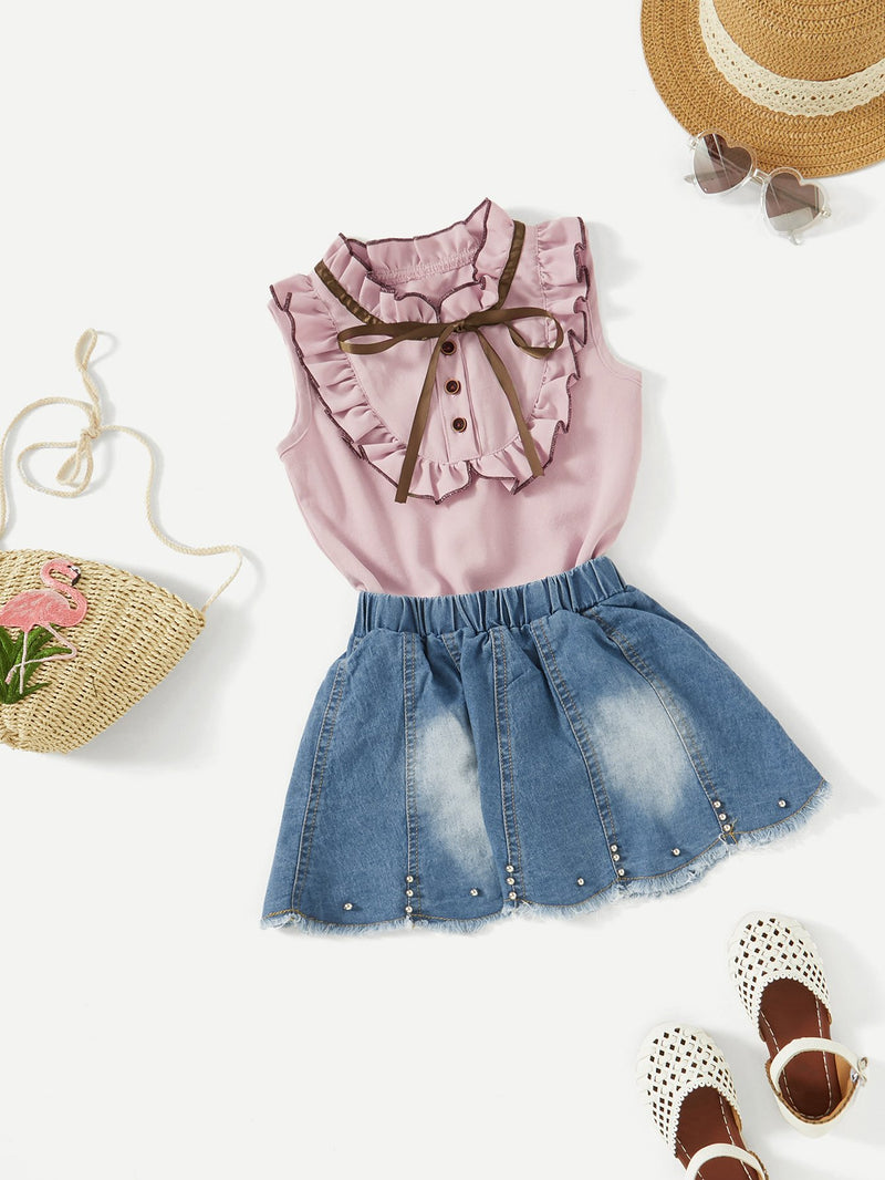 Frill Trim Blouse With Denim Skirt