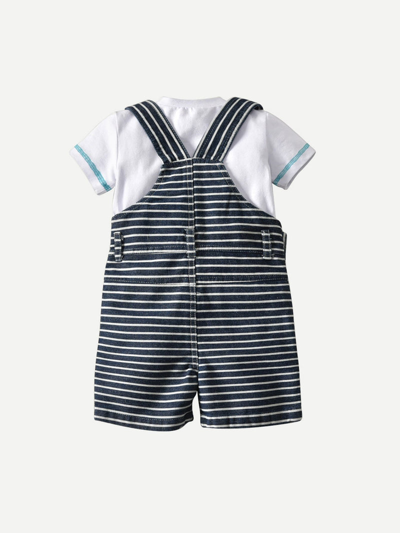 Boys Tee & Striped Overalls & Hat 3Pcs