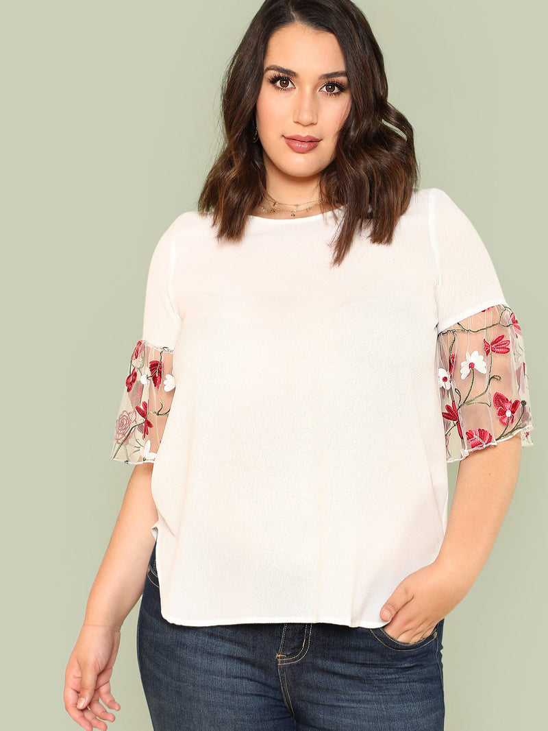 Flower Embroidered Mesh Sleeve Top