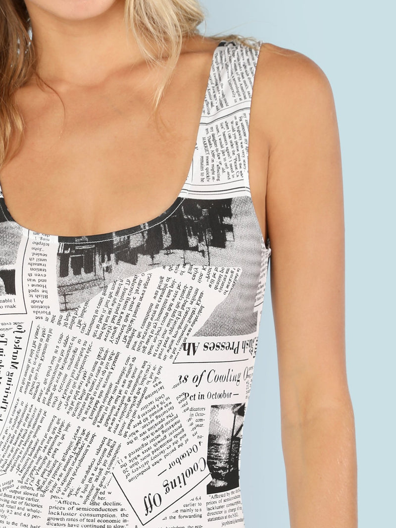 Newspaper Graphic Print Bodysuit