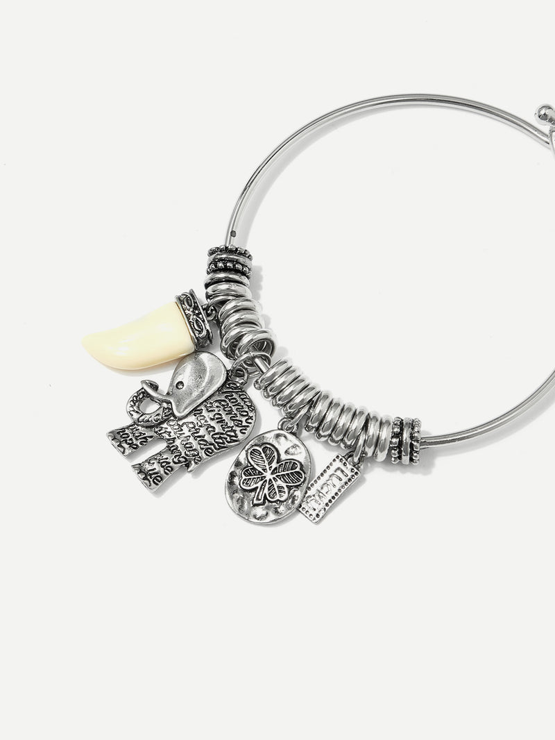 Elephant & Clover Detail Bangle Bracelet