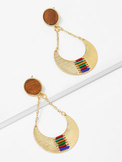 Color Block Detail Drop Earrings