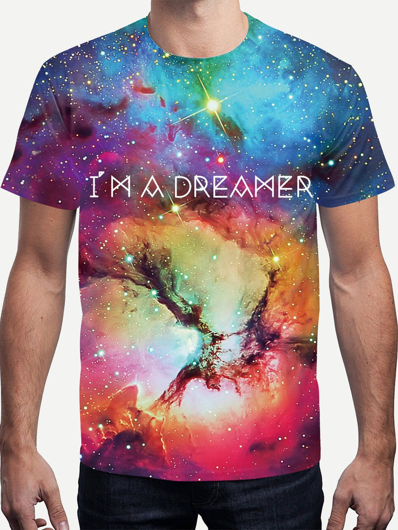 Men Letter And Galaxy Print Tee