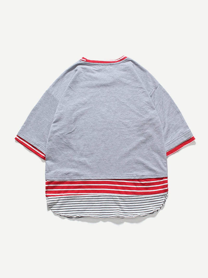 Men Cut And Sew Panel Tape Side Tee