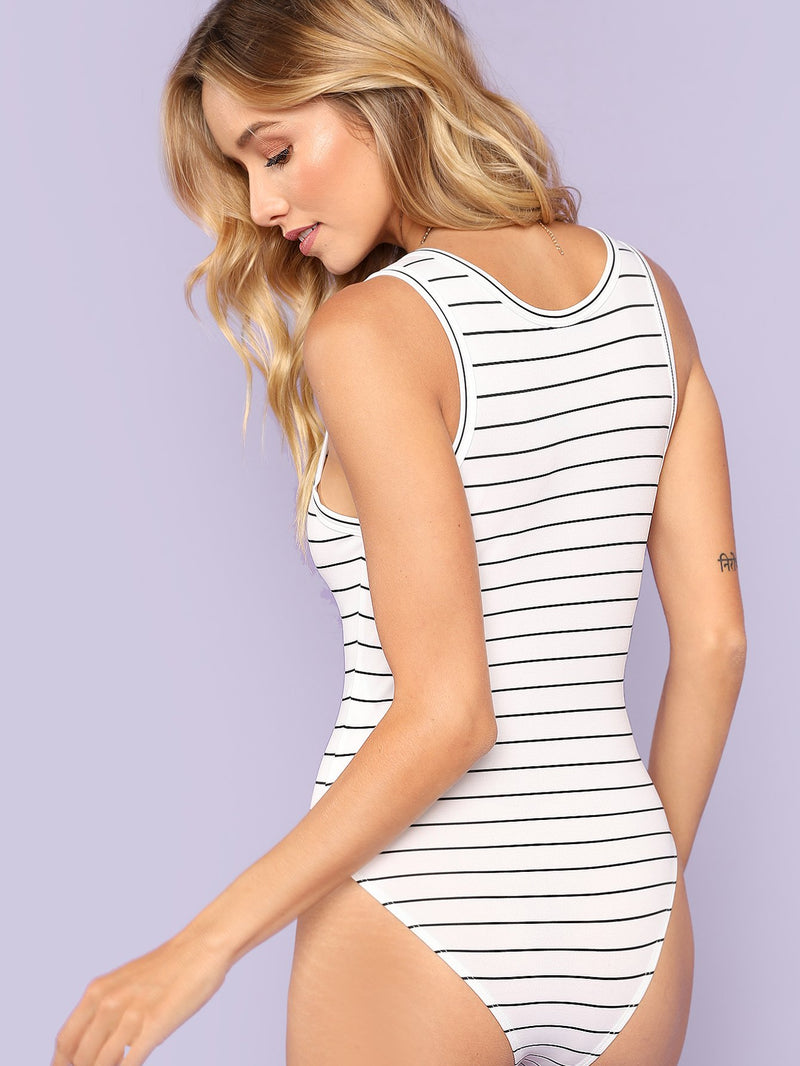 Button Front Striped Fitted Bodysuit