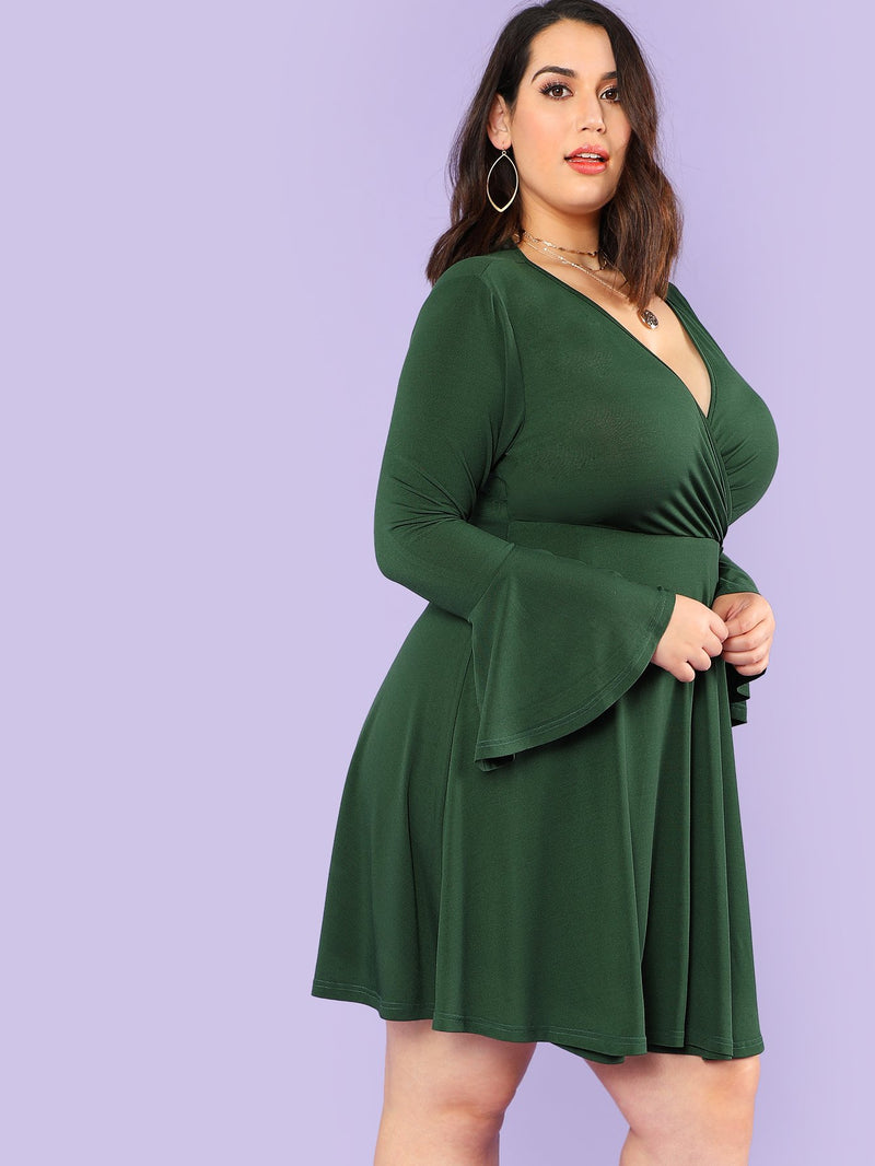 Flounce Sleeve Surplice Wrap Dress