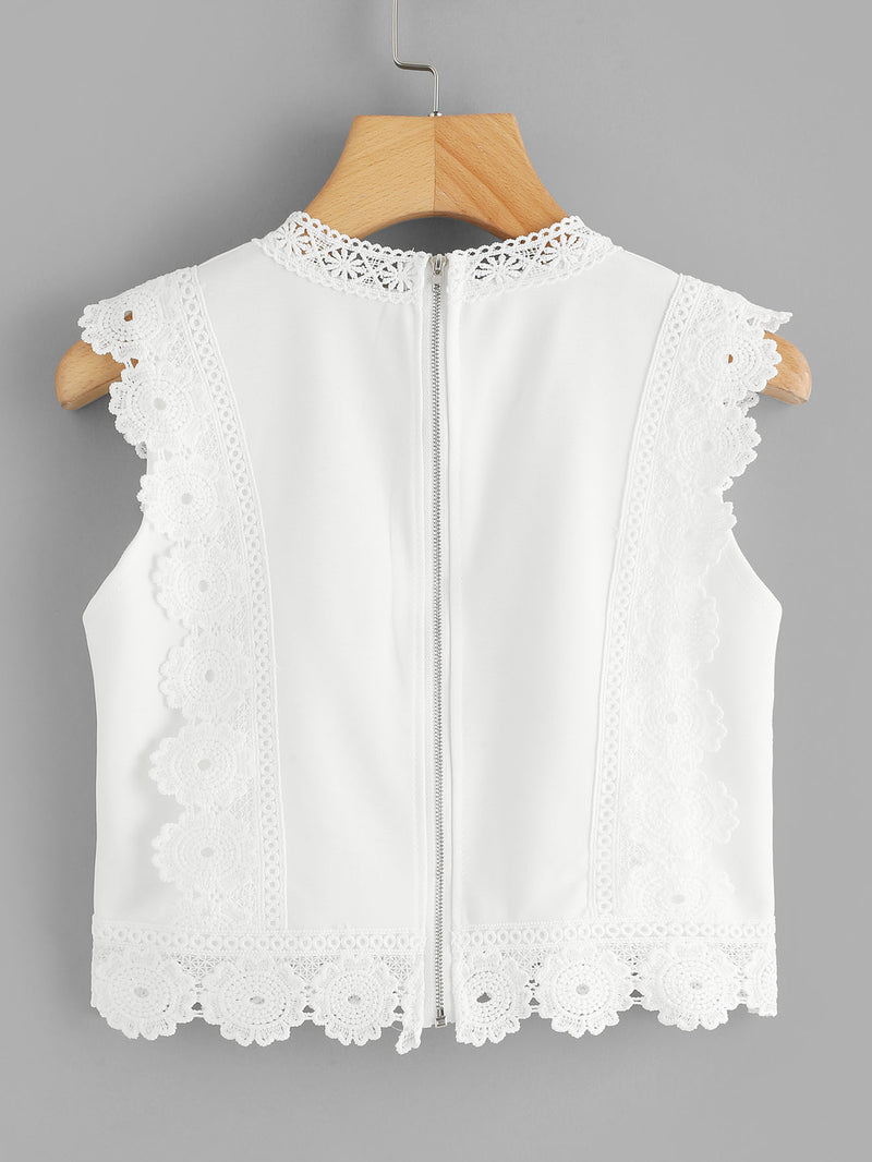 Floral Embroidered Lace Crochet Contrast Top