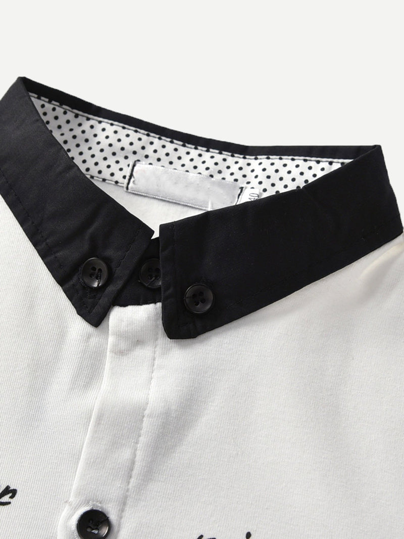 Contrast Collar Shirt With Bow