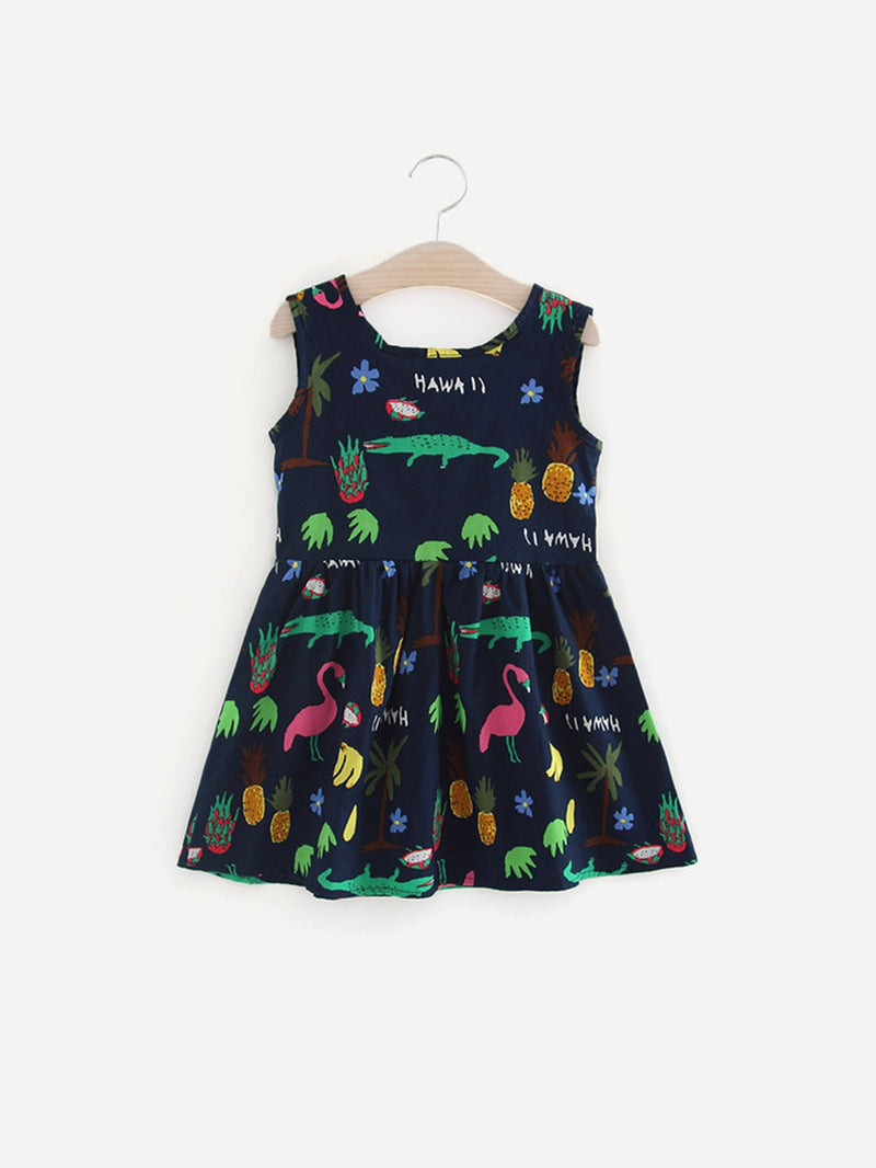 Ribbon Tie Back Cartoon Print Dress