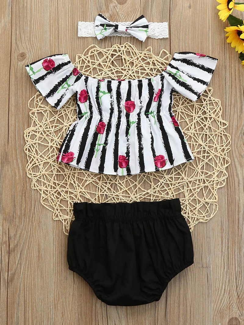 Rose Print Stripe Top With Shorts
