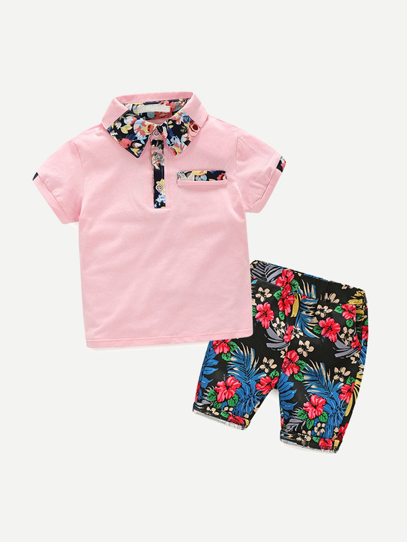 Floral Print Polo Shirt With Shorts