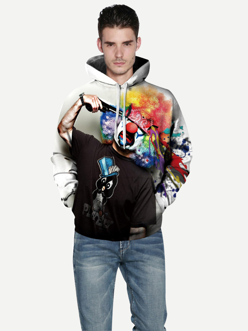 Men 3D Clown Print Hooded Sweatshirt
