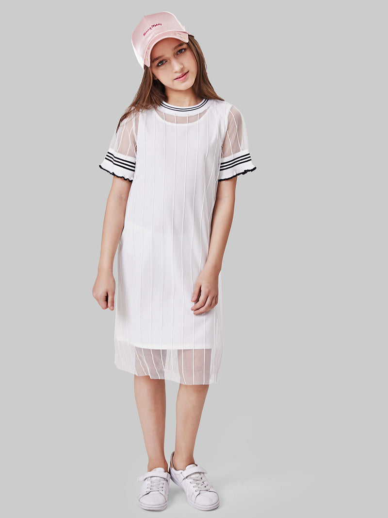 Sheer Mesh Striped Dress With Vest Dress Insert