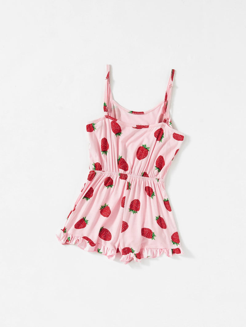 Allover Strawberry Print Ruffle Hem Cami Romper