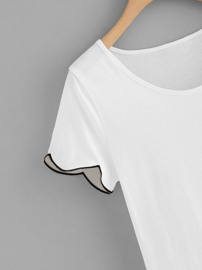 Scallop Trim Sheer Tee