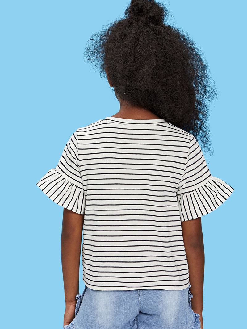 Flounce Sleeve Knot Front Striped Top