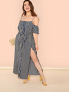 Cold Shoulder Slit Hem Striped Maxi Dress