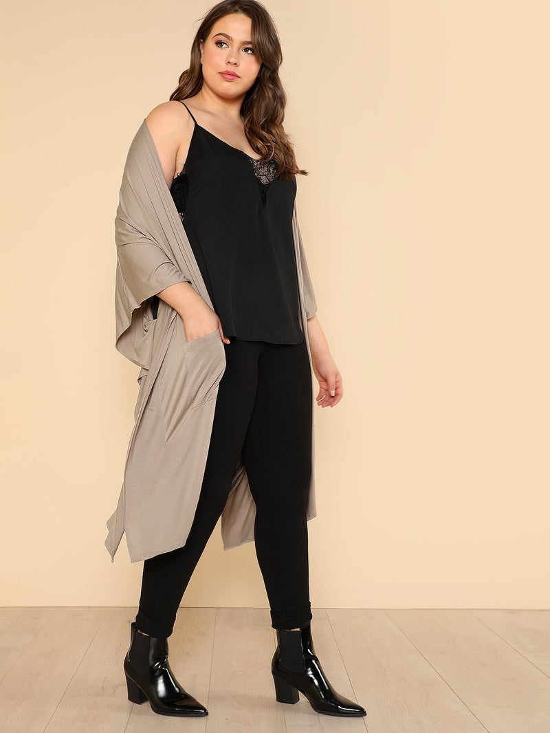 Drop Shoulder Pocket Front Coat