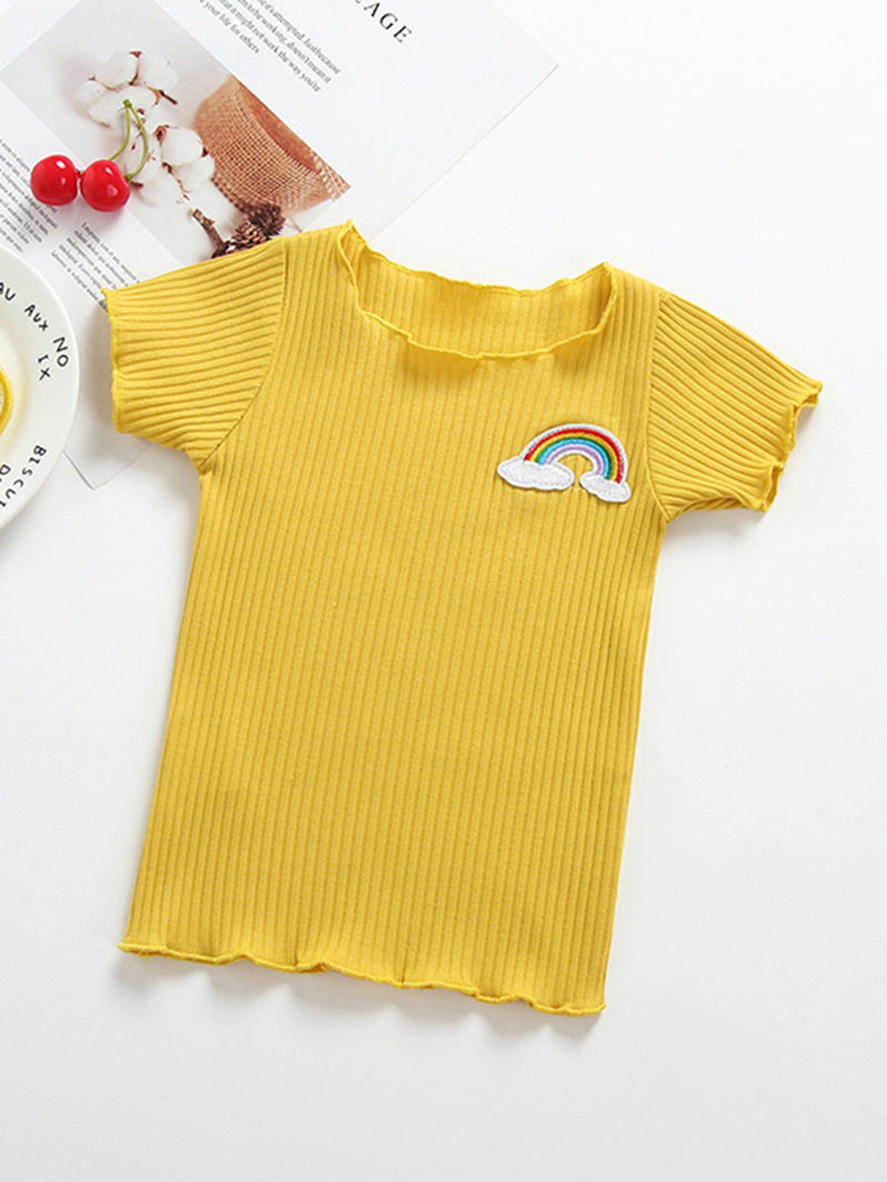 Kids Patched Frill Ribbed Tee