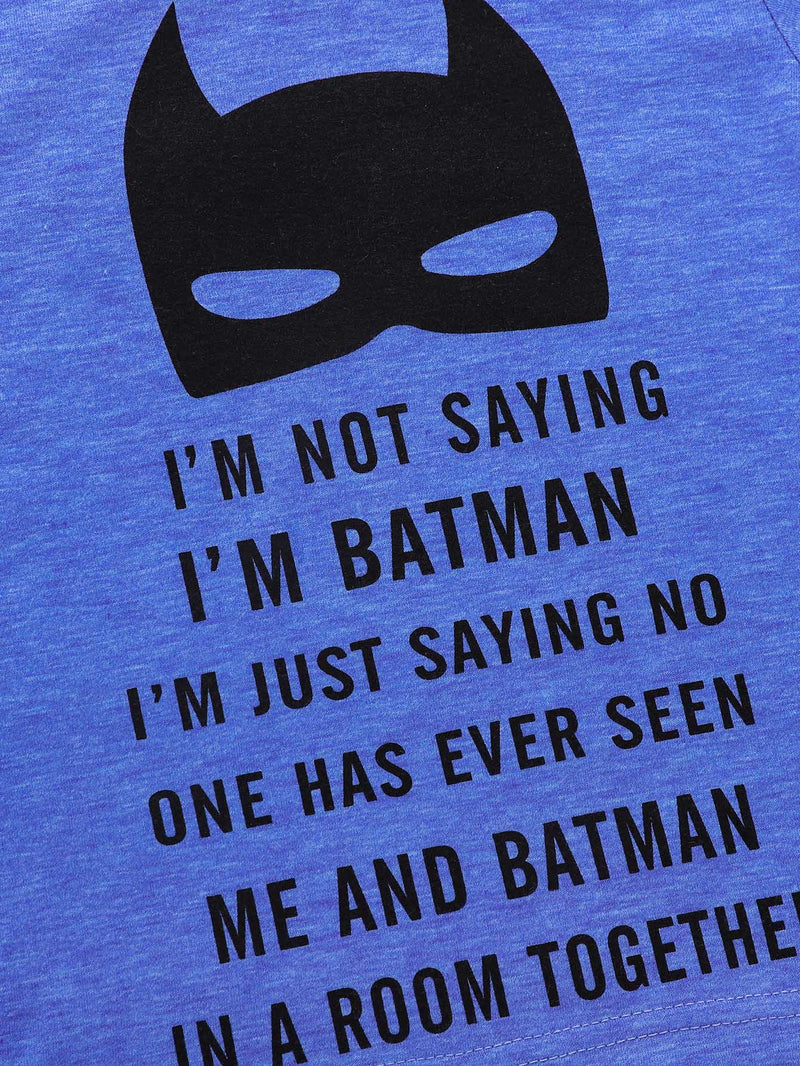 Kids Letter And Batman Print Tee