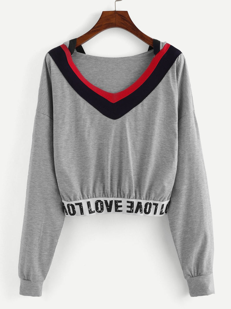 Contrast Trim Letter Tape Hoodie