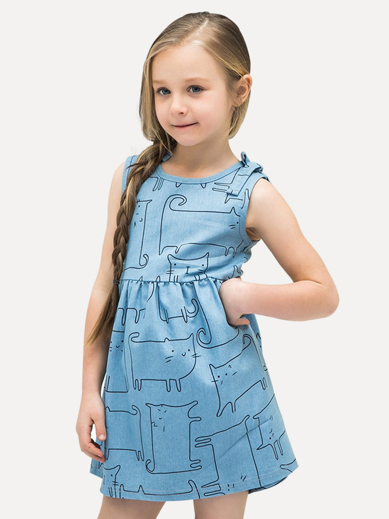 Kids Abstract Cat Dress