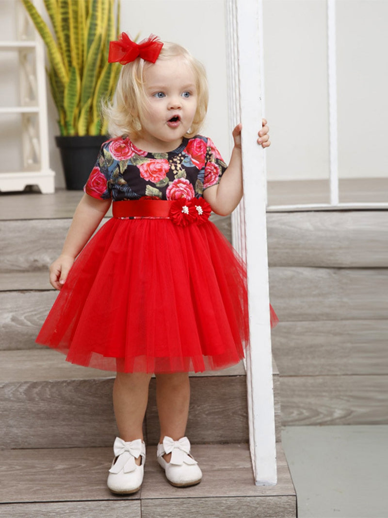 Kids Floral Contrast Mesh Ball Gown Dress