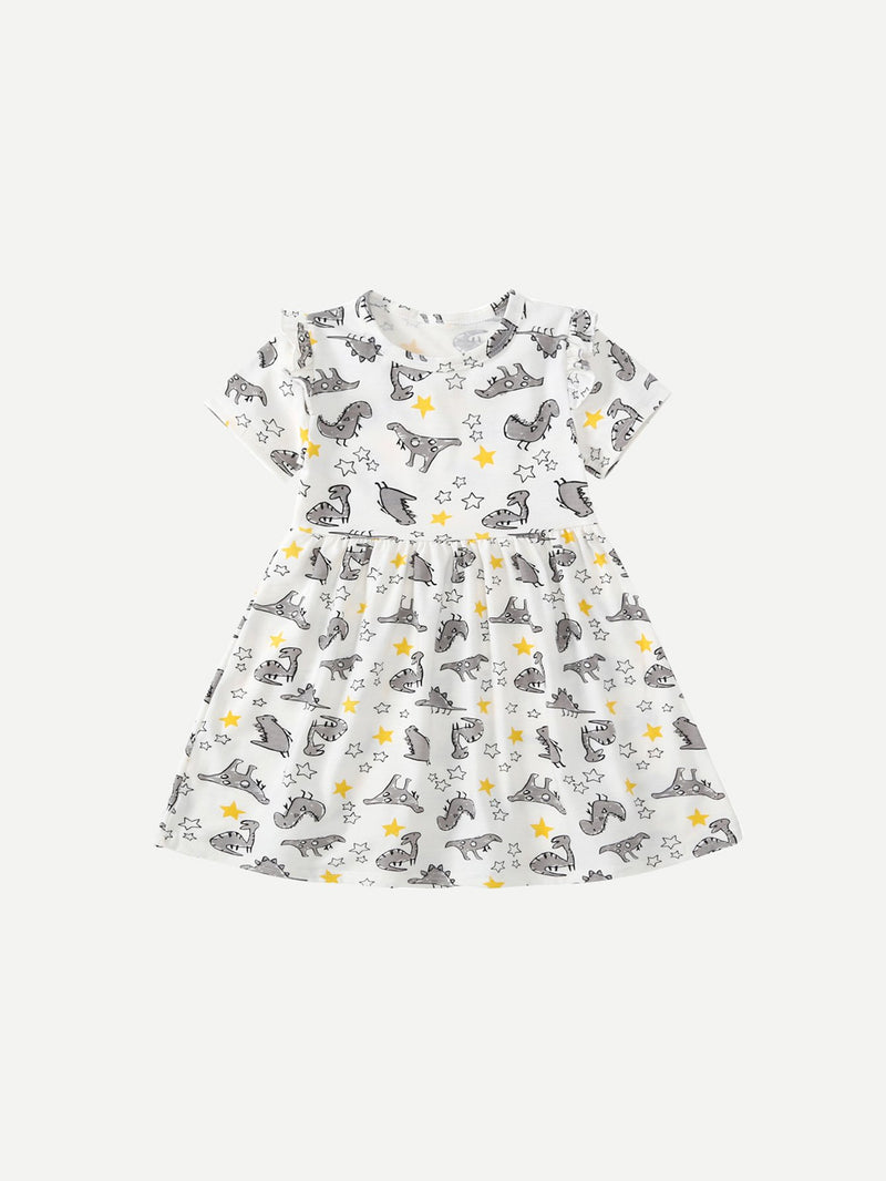 Kids Cartoon Dinosaur Print Dress