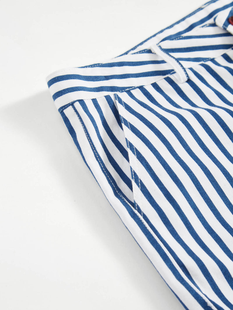 Slant Pocket Detail Cuffed Striped Shorts