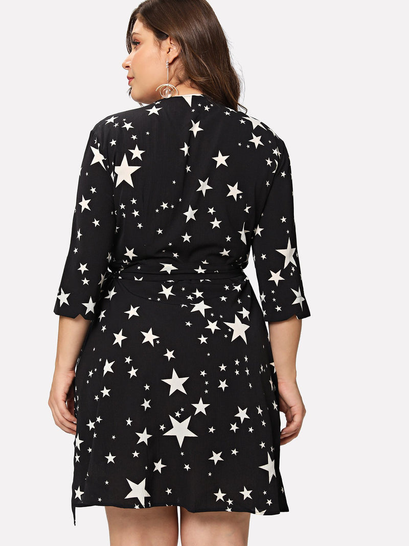 Star Print Surplice Wrap Dress